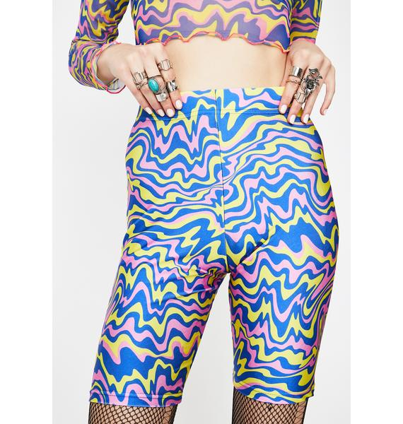 Tara Khorzad Trippy Blue Biker Shorts