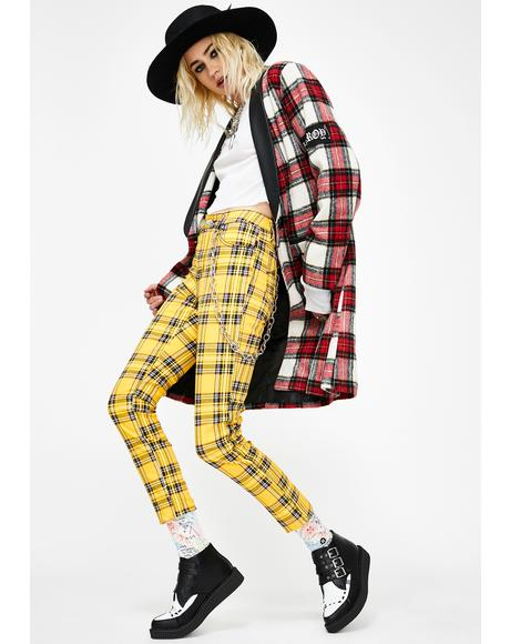 Yellow Plaid T-Back Skinny Jeans