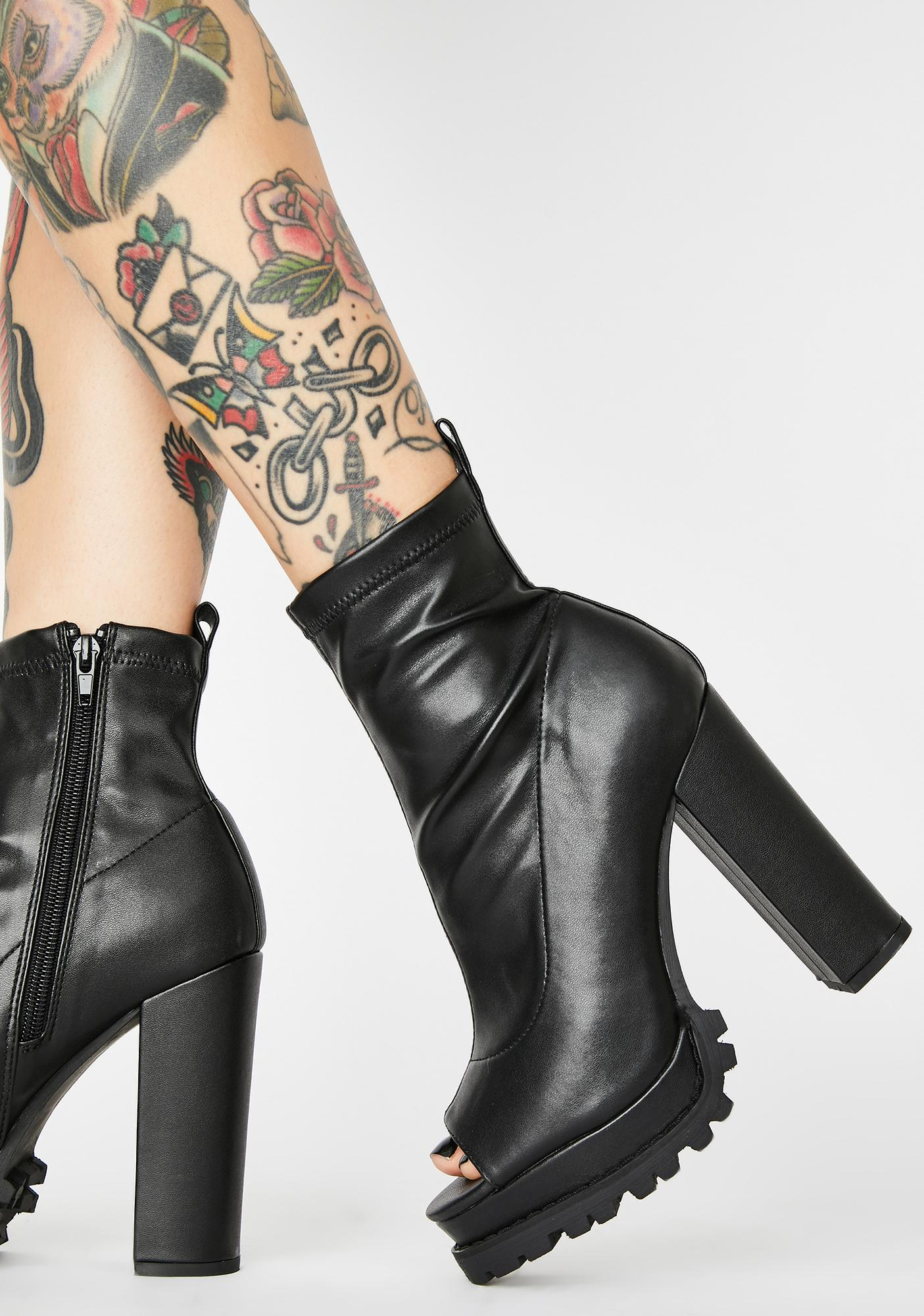 Dark Livin' Dangerous Patent Booties