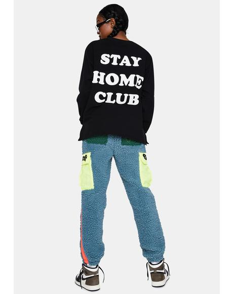 Black Stay At Home Crewneck Sweatshirt