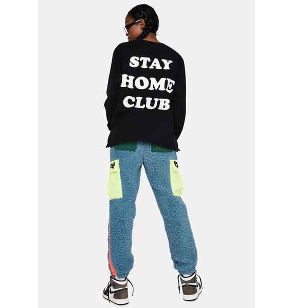 Daisy Street Black Stay At Home Crewneck Sweatshirt