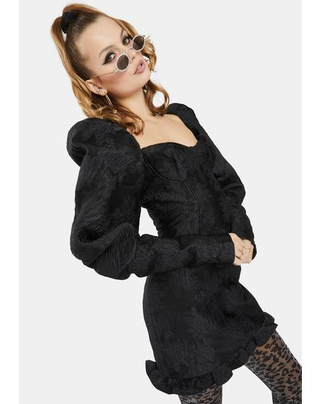 Black Textured Extra Puff Sleeve Mini Dress