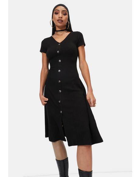 Take Care Button Up Midi Dress