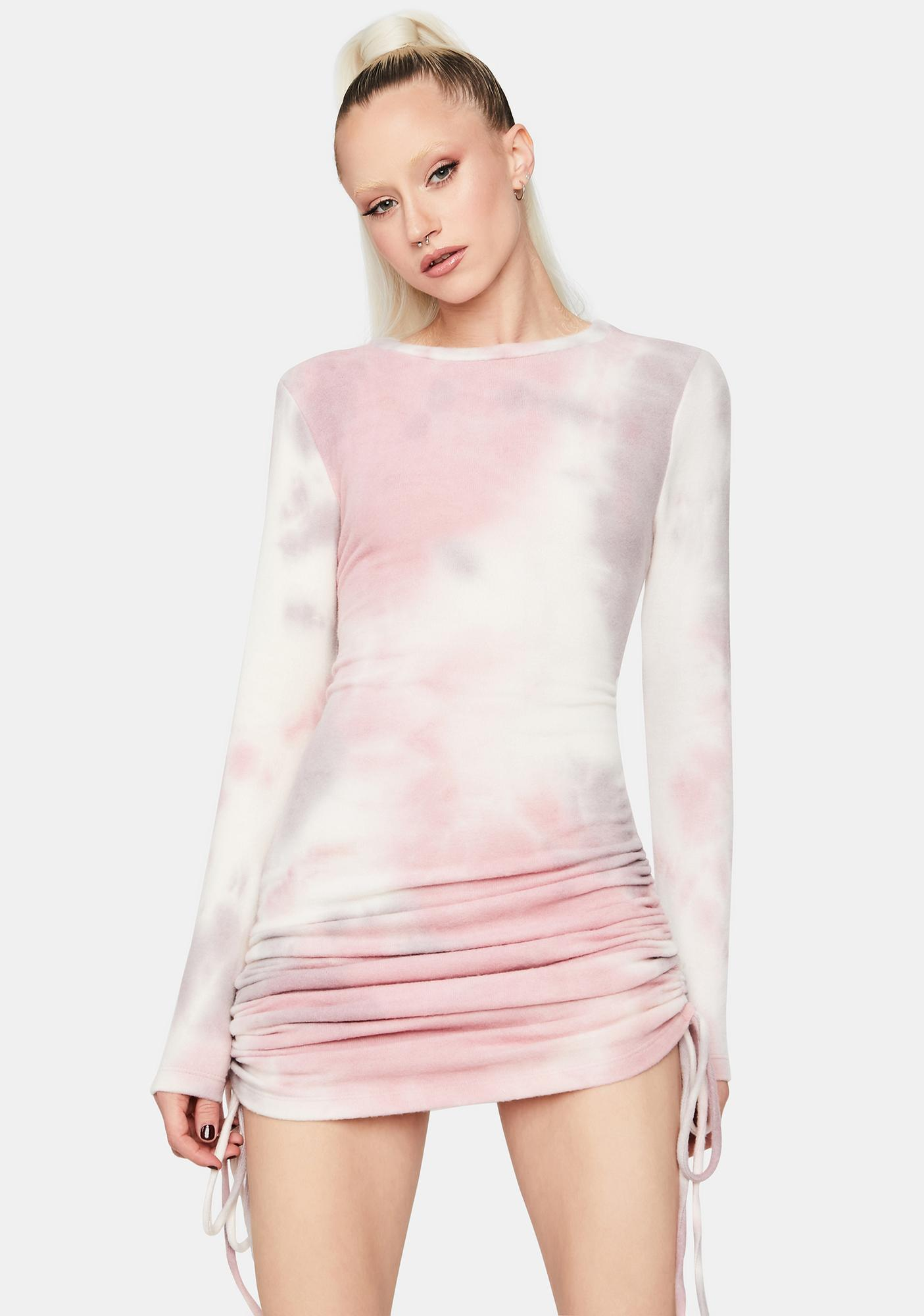 Mauve Desert Sun Ruched Tie Dye Dress