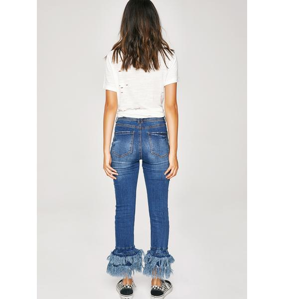 No Worries Frayed Jeans