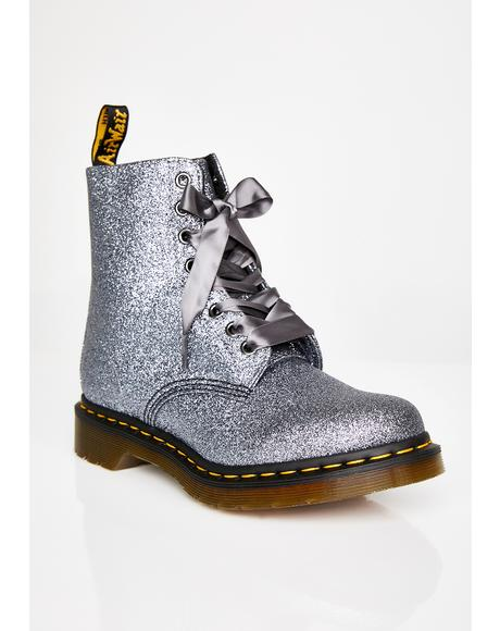 1460 Pascal Pewter Glitter Boots