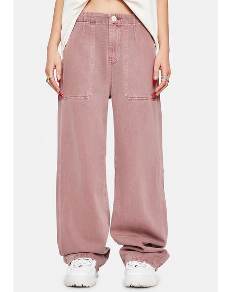 Hardwash Pink Tammy High Waisted Wide Leg Pants