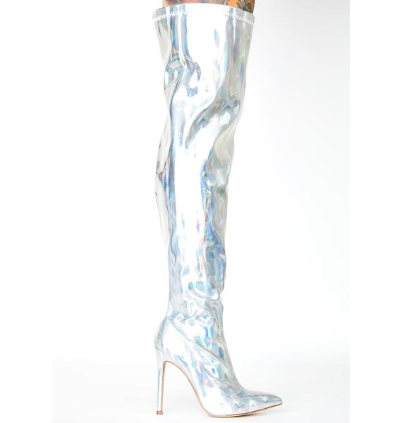 Lemon Drop by Privileged Silver Feather Thigh High Boots