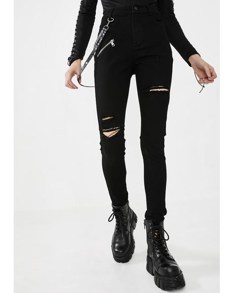 Suspender Strap Ripped Jeans