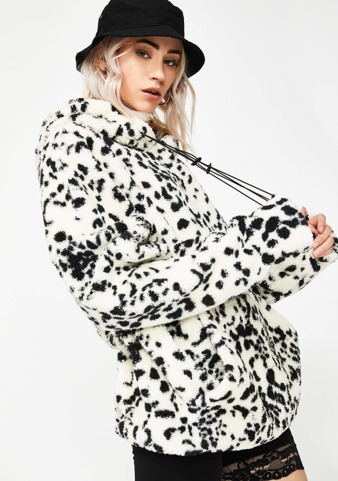 NEW GIRL ORDER Dalmatian Print Teddy Jacket