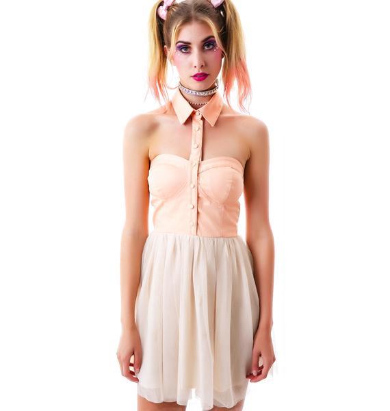 Peaches n' Cream Open Shoulder Dress