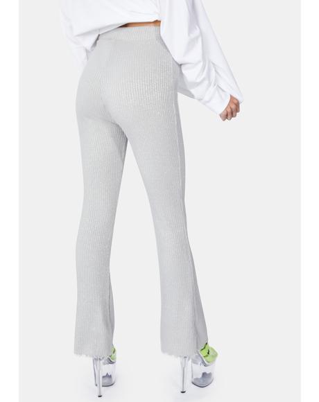 Silver Glitter Jersey Pants