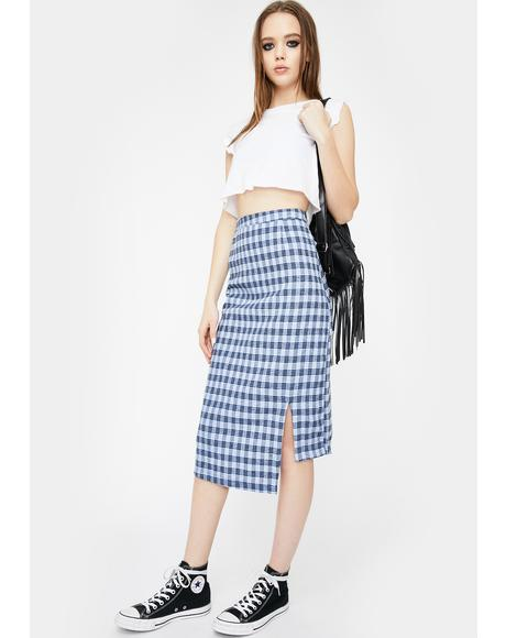 Check Asymmetrical Midi Skirt