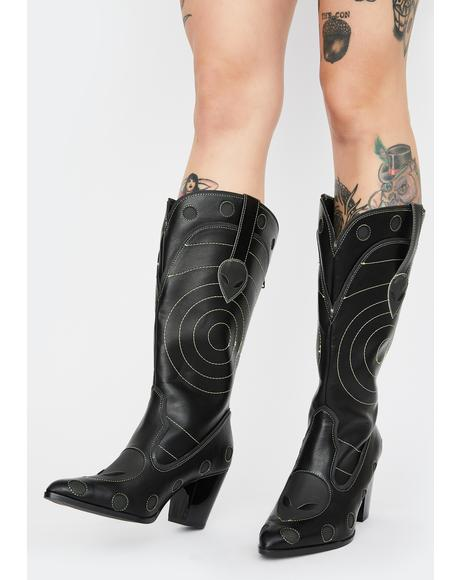 Green Heat Activated Space Cowgirl Boots