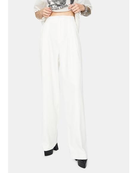 Ivory No Joke Wide Leg Dress Pants