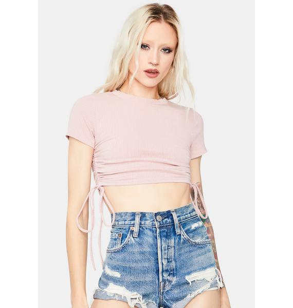 Sweet Pretty Confessions Ruched Crop Tee Shirt