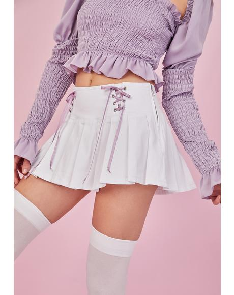 One And Only Lace Up Pleated Skirt