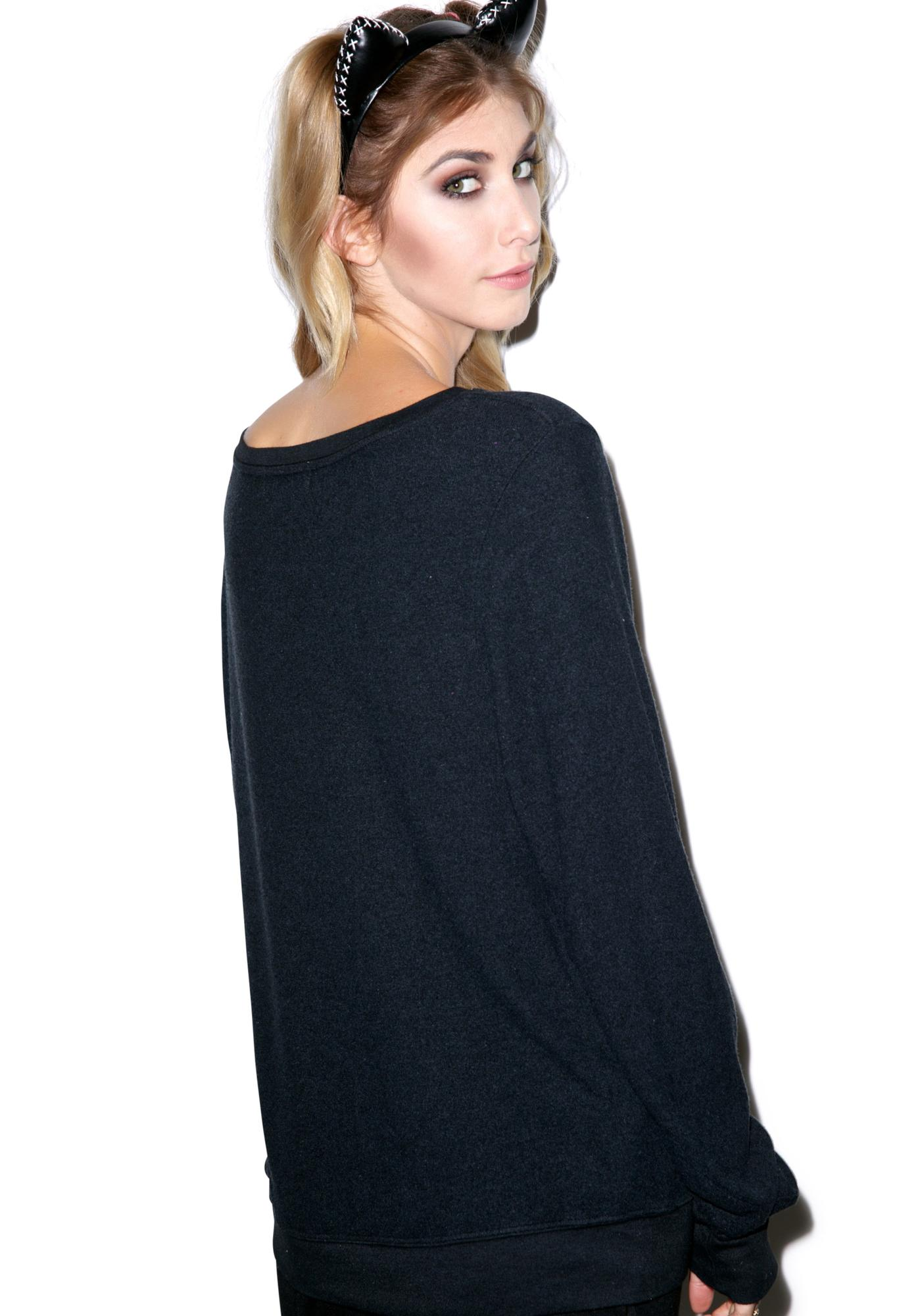 Wildfox Couture Black Cat Baggy Beach Jumper