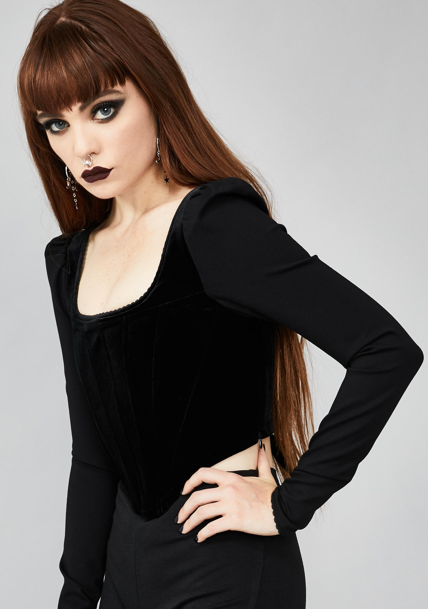 Widow Sincerely Soulless Lace Up Top