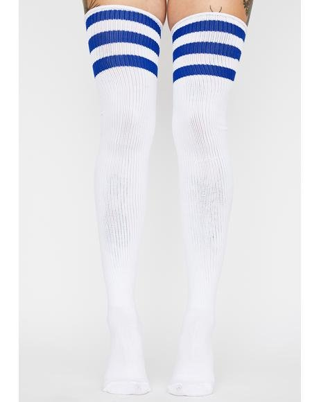 Royal Babe Team Striped Thigh Highs