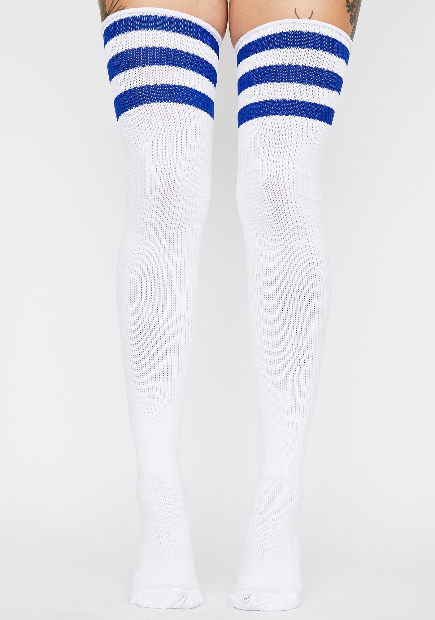 Royal Babe Team Striped Thigh Highs