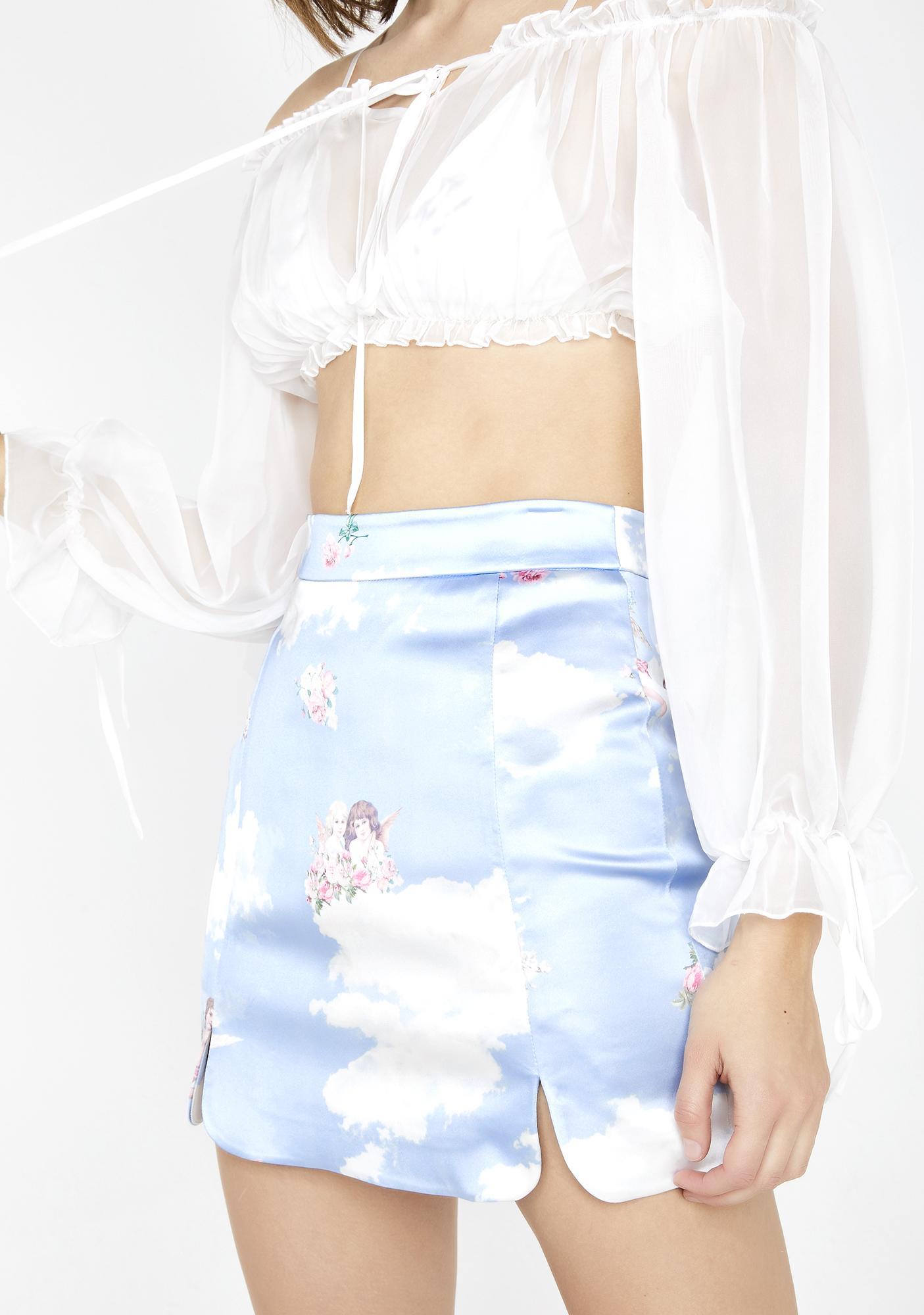 9d0db9008b Sugar Thrillz Celestial Sass Satin Skirt | Dolls Kill