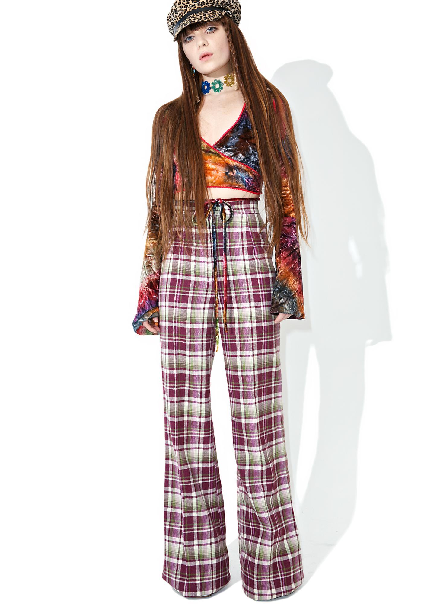 Vintage Purple Plaid High Waisted Pants