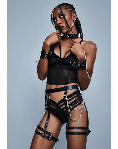 Extremities Belted Chain Leg Garter Harness