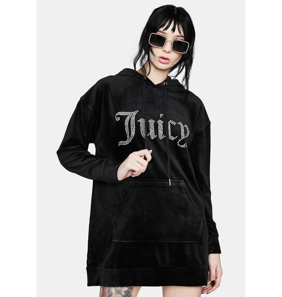 JUICY COUTURE Black Luxe Velour Logo Hoodie