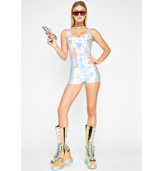 Space Walker Holographic Romper