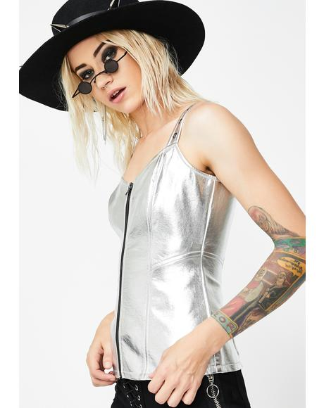 Metallic Faux Leather Top