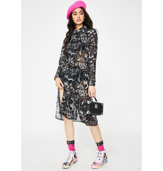 Lazy Oaf Drawn Out Sheer Shirt Dress