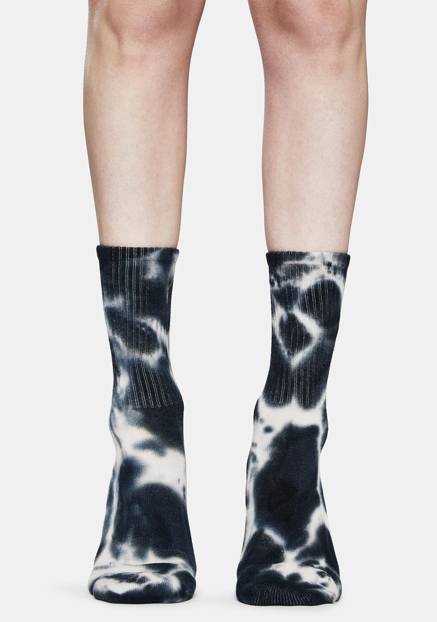 Petals and Peacocks Black Monarch Tie Dye Embroidered Crew Socks