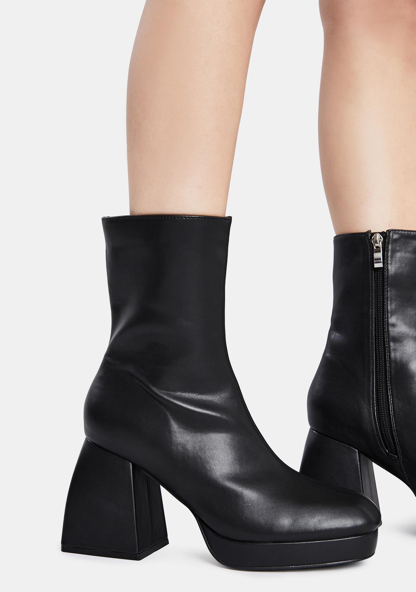 Public Desire Black Imagine Chunky Heel Ankle Boots