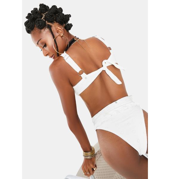 For Love & Lemons White Rowan Bikini Top