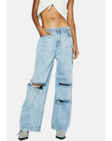 Served Ripped Wide Leg Jeans