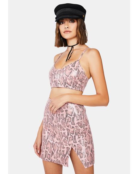 Pink Snake Wren Mini Skirt