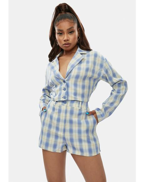 Corrupt But Cute Plaid Blazer Set