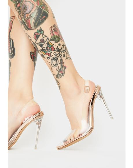 Rose Gold Ruby Clear Heels