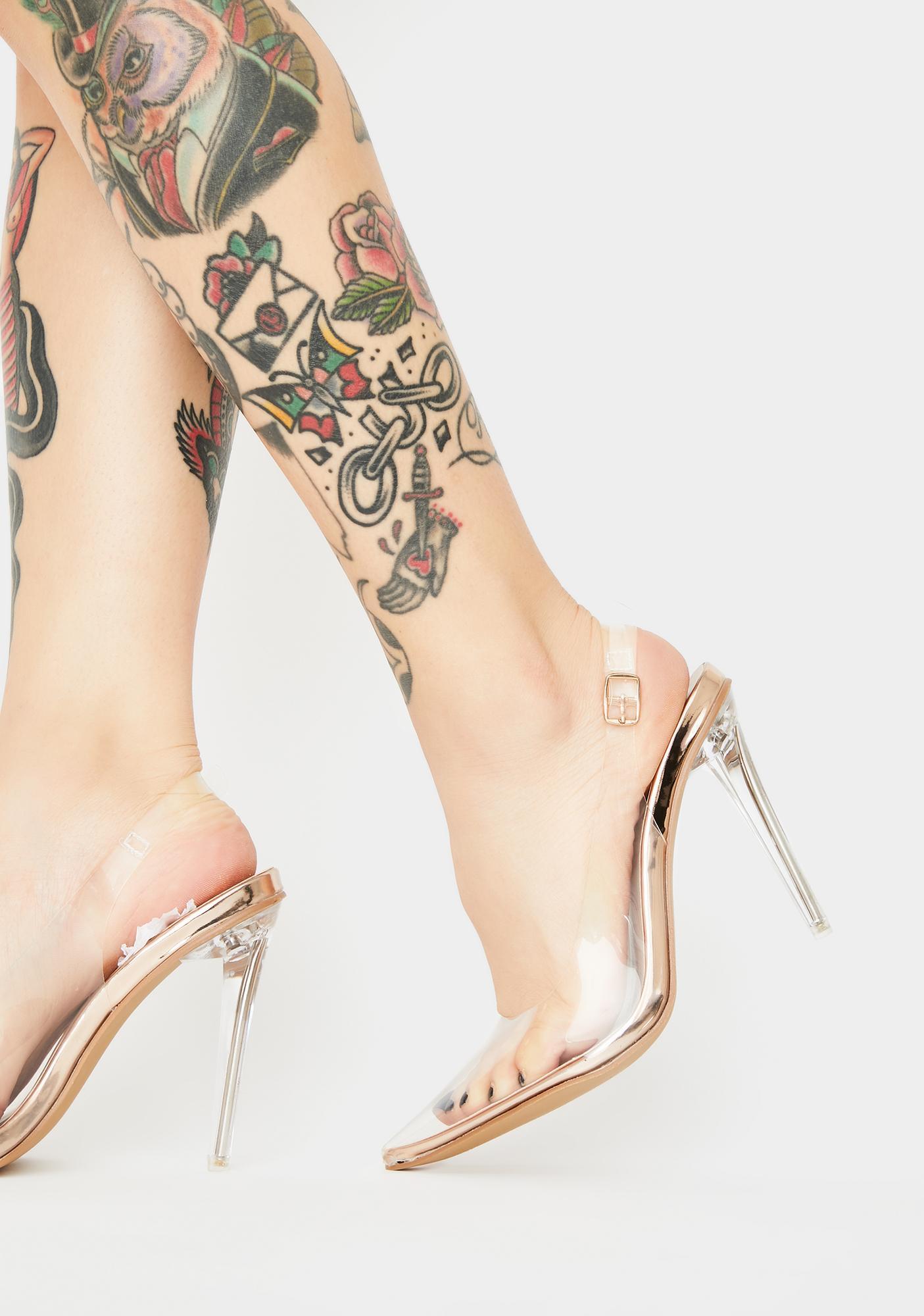 Public Desire Rose Gold Ruby Clear Heels
