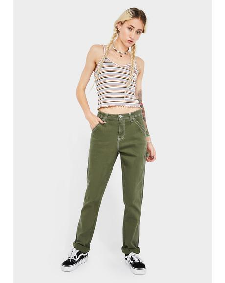 Olive Slim Rolled Hem Carpenter Pants