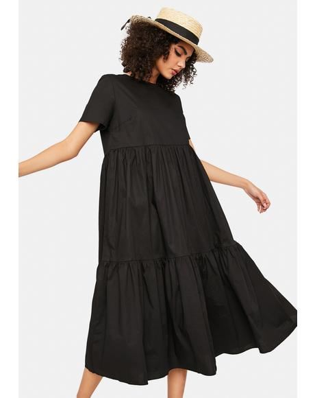 Black Short Sleeve Tiered Maxi Dress