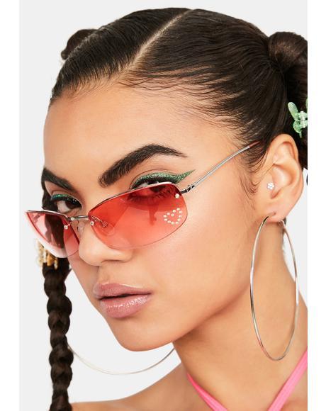 Red Nelly Rhinestone Sunglasses