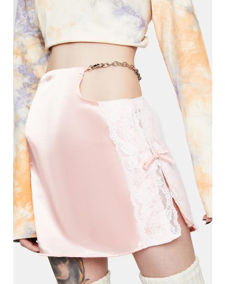 Pink Satin Lace Skirt