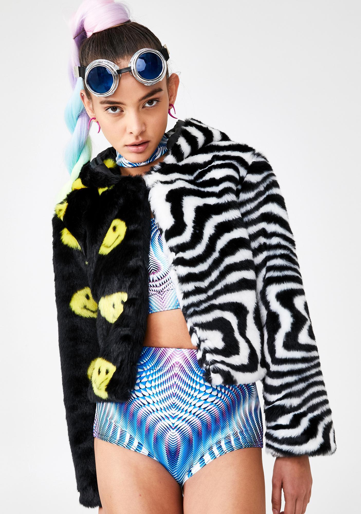 Ivy Berlin Trippy Smiley Split Faux Fur Jacket