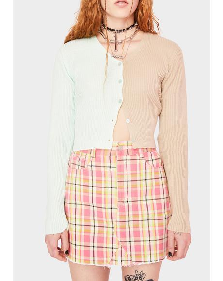 Pink Plaid Denim Mini Skirt