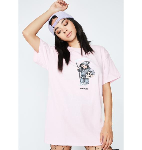 No Hours Light Pink Solo Bear Tee