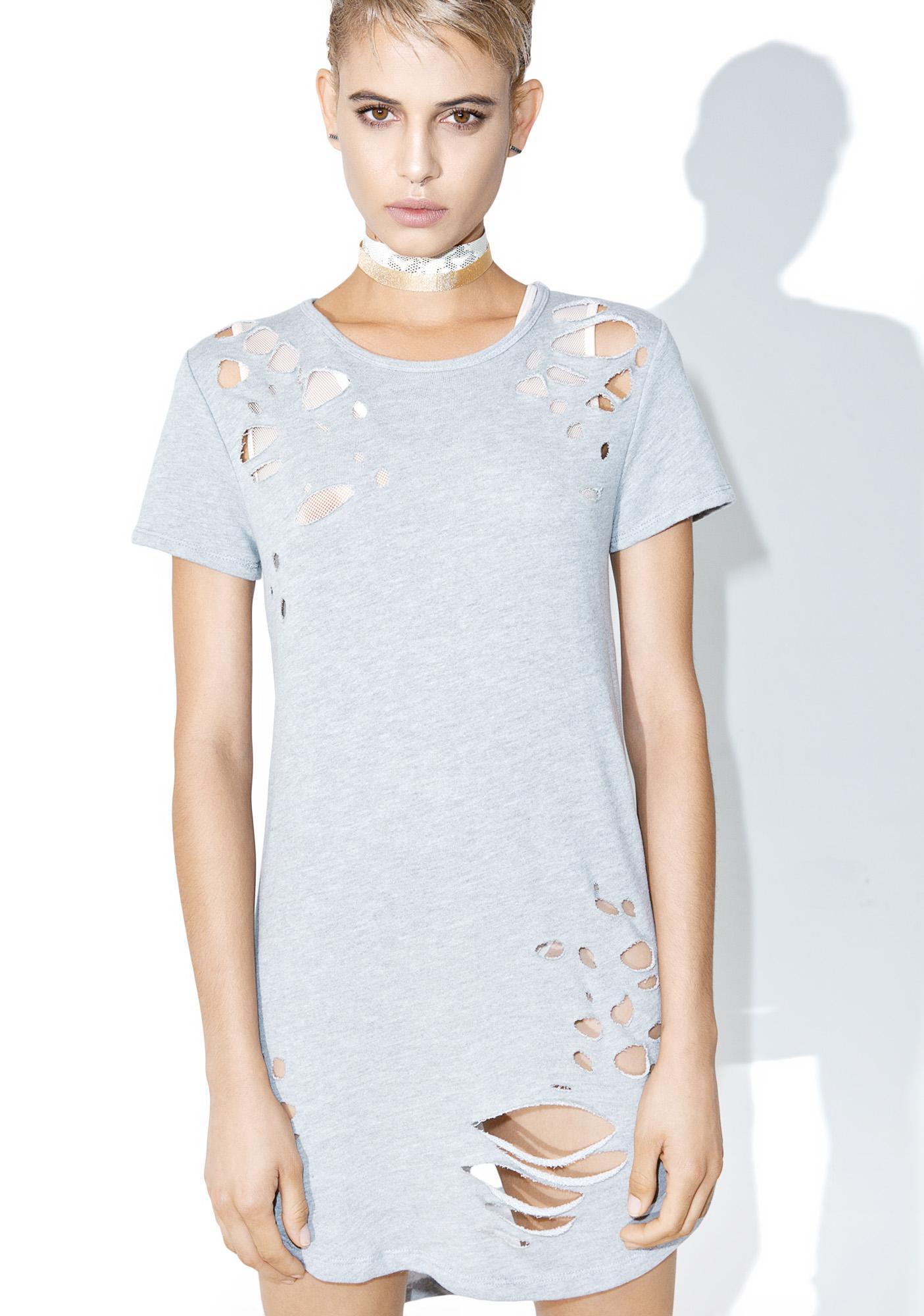 Grey Matter Distressed T-Shirt Dress
