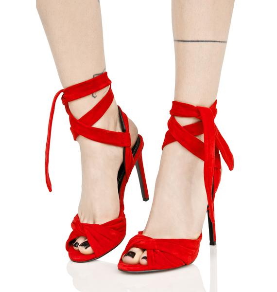 Kendall + Kylie Red Suede Heel