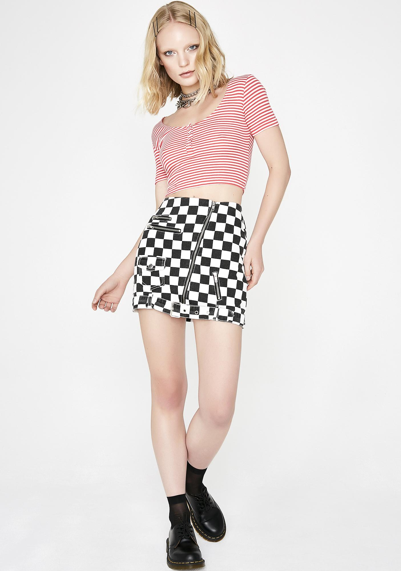 Flame Nothin' To It Striped Crop Top